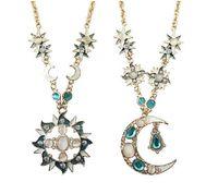 Wholesale Diamond Stone Sweater - Fashion moon and sun Long sweater chains Pendant Necklace necklace jewelry necklace Diamond With stone Turquoise