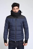 Wholesale long down filled jacket - M Brand Men Down Jacket Stand Collar Thick Warm Hooded Jacket Long Sleeves Solid Casual Parkas Winter Duck Down Filled Coat