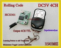 Wholesale Rf Module 433 - Rolling Code RF Receiver Transmitter 5V 4CH Receiver Module TTL Learning 315 433 Radio Wireless Remote Controller HCS301 Rolling Code