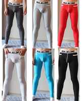 Wholesale Thermal Bamboo - Hot Men's Bamboo Long Johns With Pocket Thermals Trousers Bottoms Underwear for Autumn Winter Warm Men Modal Leggings High Quality H2065