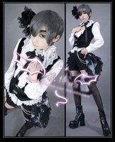 Wholesale Ciel Phantomhive Full Cosplay Black - Black Butler Ciel Phantomhive Cosplay Costume Vest Shirt Shorts tailing Headdress EyePatch