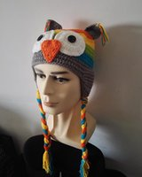Wholesale Earmuffs For Men - Handmade Knitted Crochet OWL Hats Earmuffs cap with Ear Flap Christmas Halloween Party Animal Funny Cute Hat For Men And Women
