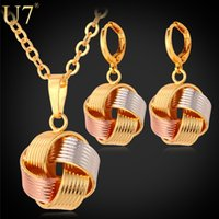 Wholesale Earring Wraps - U7 Lovely Multi-tone Wrap Ball Necklace Earrings Set 18K Real Gold Platinum Rose Gold Plated Fashion Jewelry Set Festival Gift for Women