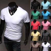 Wholesale Cheap V Neck Mens Shirts - Free shipping 2014 New fashion summer mens Cheap High Quality t shirt short sport t-shirts men fitness brand Unkut hip hop tees