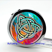 Wholesale Metal Antique Pocket Mirror - New Arrival Mandala Compact Mirror Antique Pocket Mirrors Glass Photo Jewelry Portable Cosmetic Mirror--00312