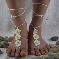 ingrosso sandali scalzi neri-Scarpe da sposa bianche e nere in pizzo, uncinetto sandali a piedi nudi, donne sexy scarpe da spiaggia nude scarpe senza fondo, piscina in spiaggia, piedi sexy gipsy