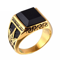 Wholesale banded onyx - Men Punk Titanium Steel Ring Vintage Jewelry Carved Geometric Hipsters Onyx Stones Masonic Accessories Gold Size 8-11
