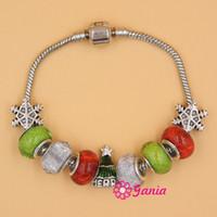 Wholesale Christmas Beads European Bracelet - Free shipping New Fashion European Style Christmas Tree Bead Charm Bracelet For Christmas Gift Jewelry