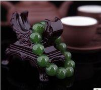 Wholesale Chinese Beaded Bracelets - Wholesale Chinese crafts Green 100% Natural A JADE Jadeite Bead Beads Bangle Bracelet 12mm