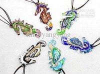 Wholesale Wholesale Sea Glass Bead - Baroque 24pc Wholesale Colorful Fashion Handmade Italian Gold dust sea horse Bead Lampwork murano glass pendant necklace jewelry