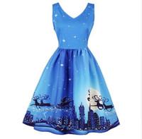 neues jahr minikleid großhandel-Neue S-4XL Plus Size Winter Schnee Schneemann Print Weihnachten Kleid Sexy Sleeveless Frauen Blau Rot Plus Größe Casual New Year Party Dress