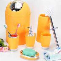 Wholesale Bathroom Bins - High Quality Bathroom 6pcs  Set Accessory Bin Soap Dish Dispenser Tumbler Toothbrush Holder
