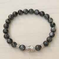 Wholesale Mens Stretch Bracelets - SN0236 Trendy Design Jewelry Buddha Bracelet Natural Stone Stretch Bracelet Mens Gray Larvikite Bracelet Meditation Yoga Bracelet