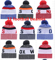 Wholesale Beanie Team Hats - 2017 New Arrival Beanies Hats American Football 32 teams Beanies Sports winter side line knit caps Beanie Knitted Hats drop shippping B08