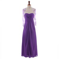 Wholesale Purple Lace Jackets - Long Sleeve 2015 Evening Dresses Long Strapless Draped A Line Two Pieces Evening Gowns with Lace Jacket Purple Evening Dress Pregnant Gown