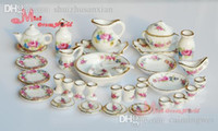 Wholesale Dollhouse Roses - Wholesale-Free Shipping ! Porcelain Rose Tea Dinner Set Lots Of 40PCS Dining DIsh Plate~ 1 12 Scale Dollhouse Miniature Furniture