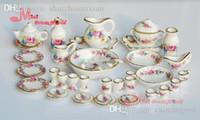 Wholesale Porcelain Furniture - Wholesale-Free Shipping ! Porcelain Rose Tea Dinner Set Lots Of 40PCS Dining DIsh Plate~ 1 12 Scale Dollhouse Miniature Furniture