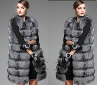 Wholesale Double Knit Vest - Wholesale-2017 White Black Winter Women Knitted Rabbit & Fox Fur Vest Plus Size Real Natural Rabbit Fur Coat Jackets Long Colete