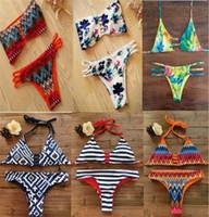 Wholesale Ties Sides Bikini Sets - New Women Bikini Set Lace Swimwear Print Triangle Swimsuit Tie at Side Brazilian Girls Gift Batching Suit Holiday