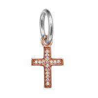 silber murano kreuz großhandel-Dangle Golden Cross Symbol des Glaubens mit klaren CZ 100% 925 Sterling Silber Perlen passen Pandora Charms Armband authentische DIY Modeschmuck