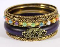 juegos de joyería india para la venta al por mayor-Al por mayor-moda mujeres joyería estilo indio antiguo chapado en oro de madera púrpura venta caliente Vintage pulseras brazaletes conjunto regalo de la joyería venta