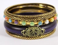 индийские ювелирные наборы для продажи оптовых-Wholesale-Fashion Women Jewelry  Style Antique Gold Plated Purple Wooden Hot Sell Vintage Bangles Bracelets Set Jewelry Gift Sale