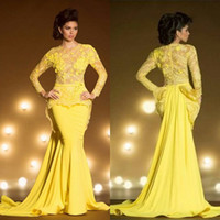 Wholesale Transparent Lace Evening Dress Sexy - Fashion Lace Formal Evening Dresses With Long Sleeves Mermaid Appliqued Sheer Jewel Neck Peplum Prom Dress Yellow Transparent Evening Gowns