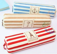 spring pen holder - New spring stripe and stamp series pencil bag case Pen holder Cosmetic Bag Pouch