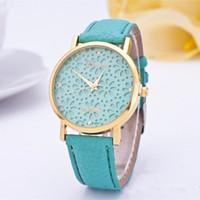 sieht schnürsenkel großhandel-2017 mode Genf Uhren Strap Armbanduhr Hohle Spitze Blume Uhren Für Frauen Kleid Quarz Uhren Uhr