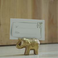 ingrosso titolari di carta di posto elefante oro-Golden Gold Portafortuna Lucky Card Titolari di carta Nome Numero Tavolo Luogo Bomboniera Regalo Bomboniere uniche