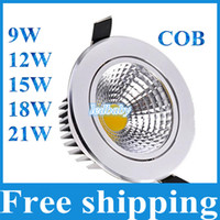 Wholesale Dimmable Cob Led Ceiling Light - COB Led Downlights 9W 12W 15W 18W 21W Dimmable Non-Dimmable Home lighting Warm Cool White LED Ceiling lights AC85-265V With Power Drivers