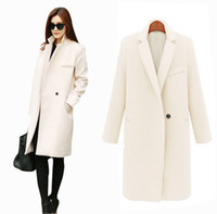 Wholesale Long Sleeved Blazer - Fall Winter Long Cashmere Coats Women 2015 European and American Fashion Slim Blazer Neck Long Wool Windbreaker Clothes Coats for Women