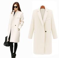 kadınlar için uzun moda blazerler toptan satış-Güz / Kış Uzun Kaşmir Palto Kadınlar 2015 Avrupa ve Amerikan Moda Ince Blazer Boyun Uzun Yün Rüzgarlık Giysi Mont Kadınlar için