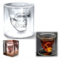 Wholesale Doomed Skull Glass Cup - 2pcs Double Layers Novelty Cup Doomed Crystal Skull Shot Glass Crystal Skull Head Vodka Shot Wine Glass Mugs retail box,Free china post