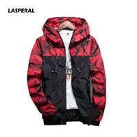 Wholesale Camouflage Outwear - Wholesale- LASPERAL 2017 Autumn Men Hooded Sweatshirt Jacket Fashion Male Camouflage Jacket Casual Windbreaker Coats Sudaderas Outwear 5XL