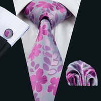 Réunion Purple Floral Silk Mens Tie Hankerchief Cufflinks Set Wedding Casual Party Cravate jacquard tissé N-1100