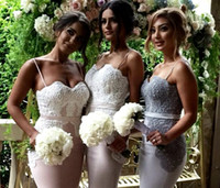Wholesale Junior Bridemaid Dresses Gray - 2017 Luxury Sexy Mermaid Long Bridesmaids Dresses Cheap Elegant Wedding Sheath Party Dress With Lace Junior Bridemaid Dress