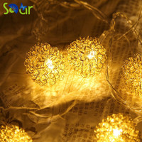 Atacado - Gold Silver Opção 1.5m 10led Romântica Metal Ball String Light Warm White LED String Lamp for Bedroom / Window / Table / Party Decor