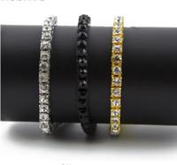 Wholesale crystal single row bracelet - classic wholesale Hip Hop Bracelet 1 Single Row Crystal CZ Bling Tennis Chain Bracelet Gold Silver-color Black-color Iced Out Bangle