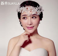 Wholesale Fancy Hair Accessories - 2015 Fashion Bridal Tiaras Crown In Stock Wedding Hair Accessories Fancy Pearls Flower Fascinators Sparkly Crystal Tiaras Red Bridal Jewelry