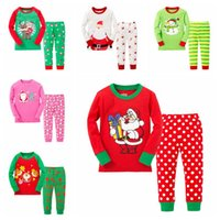 Wholesale Snow Suits For Kids - Cotton Long Sleeve Girls Boys Kids Clothing Sets Suits Pajama 2 Piece Sleepwear Fashion Father Christmas Snow Sleepwear for 2-7T 6 sets lot