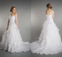 Wholesale Layered One Shoulder Dress - New Hot Sale 2015 Simple A-line One Shoulder Beading Lace Layered Ruffles Sweep Brush Train Organza Wedding Dresses Princess Wedding TU919