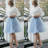 Wholesale Gauze Short Skirt - 2015 Short Skirts Light Blue Skirt Free Size Custom Made 3 Layers Knee Length Tulle Women Party Skirts Tutu Gauze Women Lady Daily Clothing
