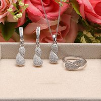 special occasion jewellery - fashion special design party jewellery set Classic occasion sterling silver micro pave setting jewelry set SM00084
