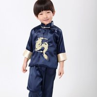Wholesale Traditional Chinese Clothing Babies - Wholesale-Fashion Chinese traditional embroider dragon sets for boys Chinese style boys kung fu suit sets baby boy birthday party clothing