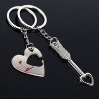 Wholesale Arrow Fobs - 2016 Romantic Couple Jewelry Cupid's Arrow Keychain Valentine's day Heart Key Fob Keyrings Birthday Gift 1Set 0134