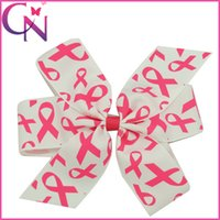 """Wholesale Hair Clip Ribbon Design - 15 Pcs lot 6"""" New Design Breast Cancer Awareness Pinwheel Hair Bows for Women Grosgrain Ribbon Bows High Quality Headwear Hair Clip"""