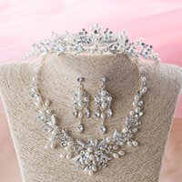 Wholesale Costume Prom Wedding Jewelry - Wedding Bride Jewelry Sets Wedding Accessory Bridesmaid Prom Bridal clear Crystal Costume Jewelry Necklace Lady Dress Decoration