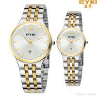 Wholesale Eyki Pair - Boutique Couple Lover's Watch Pair EYKI Brand Woman Man's Fashion Full Steel watches Calendar Quartz Waterproof Wristwatches