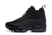 botas de trabajo marrones hombres al por mayor-Nuevo Botas de Cojín de Moda Negro Verde Marrón de los hombres 95 Botas de tobillo Hight Top 95s Botas de trabajo impermeables Zapatos de los hombres de alta calidad